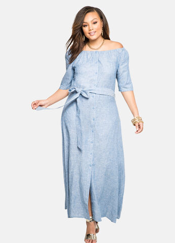Off-Shoulder Linen Maxi Dress