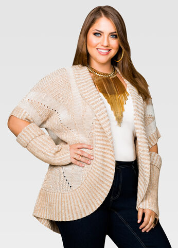 Cut Out Elbow Shawl Cardigan