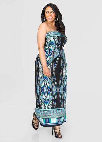 Tribal Tube Top Maxi Dress