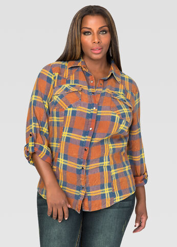Snap Button Plaid Shirt