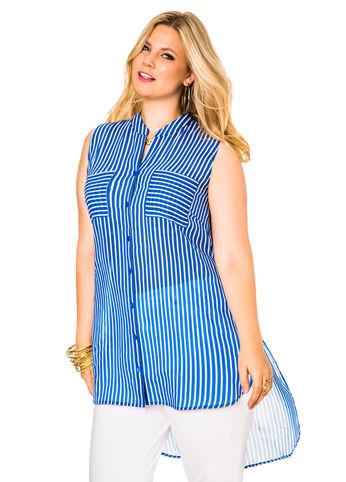 Sleeveless Striped Hi-Lo Tunic