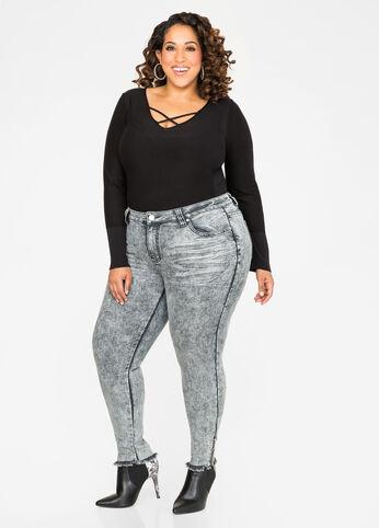 Grey Wash Raw Hem Skinny Jean