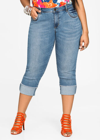 Wide Rolled Cuff Capri