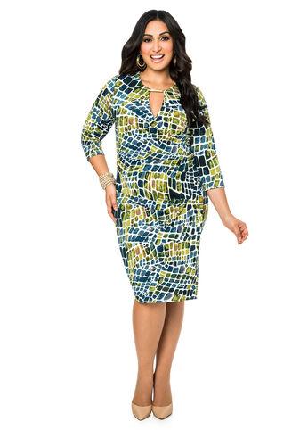 Tile Print Faux Wrap Dress
