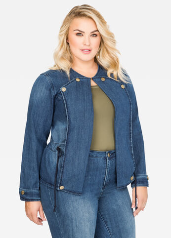 Drawstring Waist Open Jean Jacket