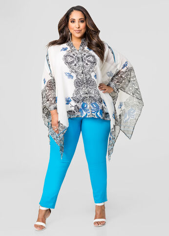 Button Front Paisley Poncho Top