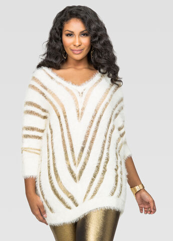 Fuzzy Metallic Stripe Dolman Sweater