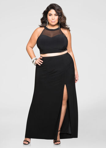 2-Piece Crop Top Gown Set