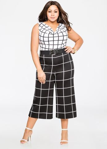 Windowpane Gaucho Jumpsuit