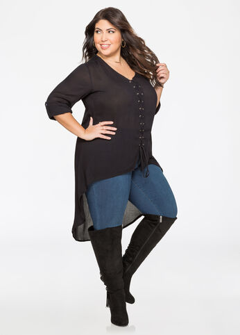 Gauze Hi-Lo Lace-Up Tunic