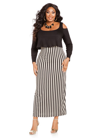 Cold Shoulder Popover Maxi Dress