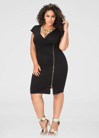 Deep V Side Zip Dress