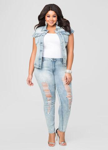 Metallic Splatter Paint Skinny Jean