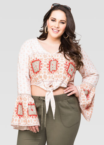 Cropped Tie Front Scarf Top