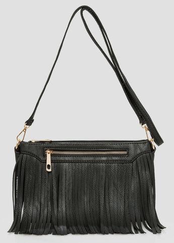 Pebbled Fringe Crossbody Bag