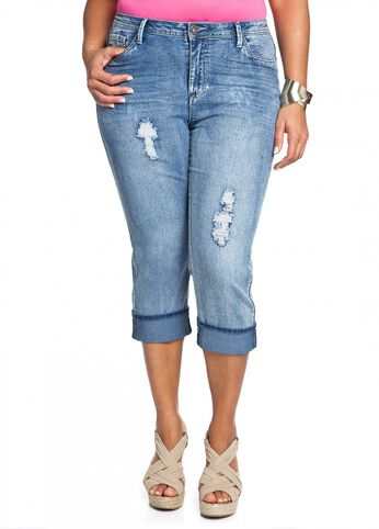 Cuffed Distressed Denim Capri