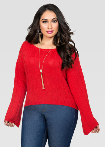 Bell Sleeve Crop Top Sweater