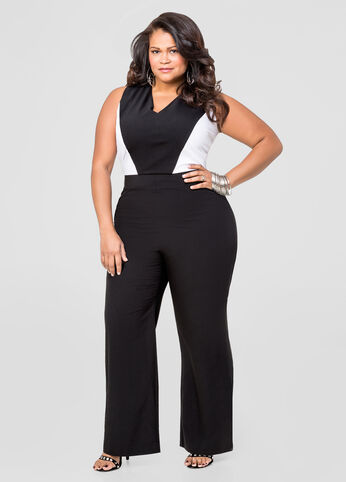 Wide Leg Colorblock Jumpsuit