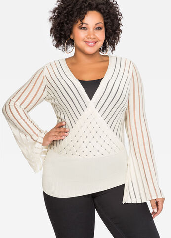 Surplice Metallic Stripe Sweater