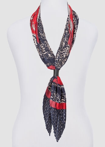 Pleated Mixed Print Skinny Scarf at Ashley Stewart