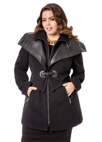 Pleather Trimmed Buckle Coat