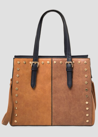 Two-Tone Stud Tote