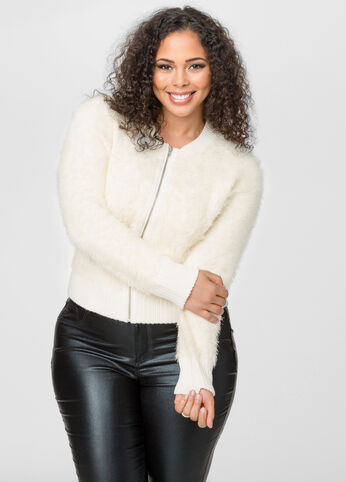 Fuzzy Zip Front Cropped Cardigan