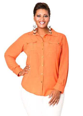 Crepe Two Button Blouse