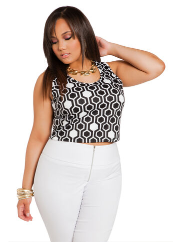 Geometric Sleeveless Crop Top