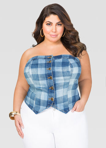 Gingham Denim Bustier Top
