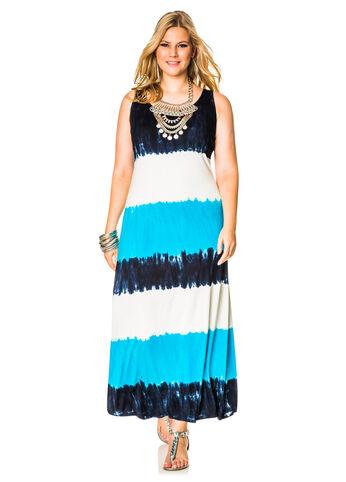 Tri-Tone Tie Dye Maxi Dress