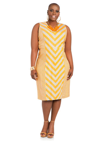 Chevron Stripe Linen Sheath Dress