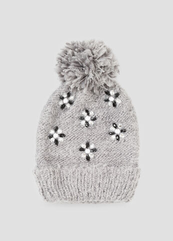 Jeweled Pom Beanie Hat