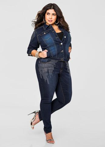 Rhinestone Side Skinny Jean