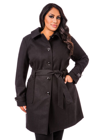 Hooded Wool Trench Coat