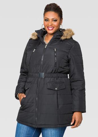 Belted Faux Fur Hood Puffer Coat
