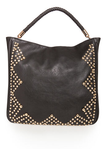 Rhinestone Stud Hobo Bag