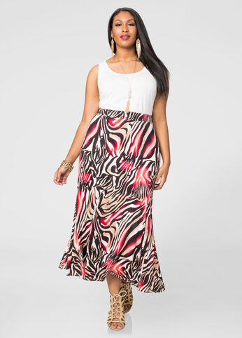 Animal Fit N Flare Maxi Skirt