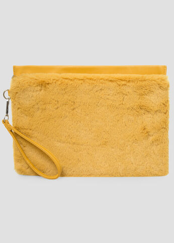 Oversized Fur Wristlet Clutch