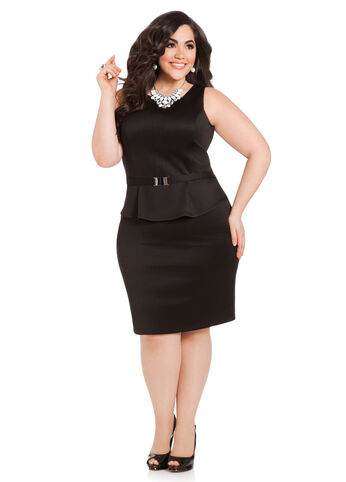 Scuba Peplum Sheath Dress