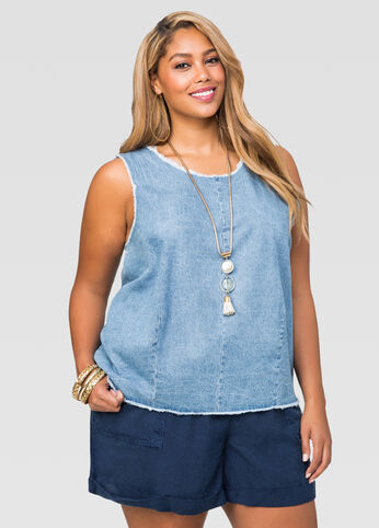 Frayed Edge Denim Tank