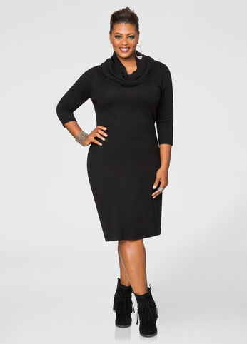 Cowl Neck Banded Sweater Dress