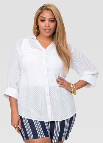Textured Chevron Burnout Blouse