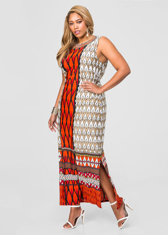 Beaded Neck Geo Maxi Dress