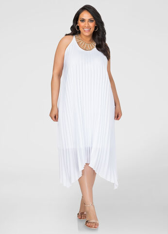 Accordion Pleat Tank Dress