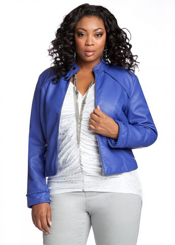Ruffle Back Faux Leather Jacket
