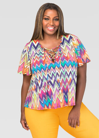 Lace-Up Chevron Top
