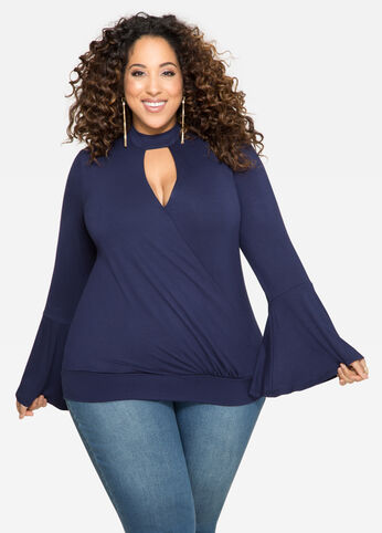 Surplice Mock Neck Keyhole Top