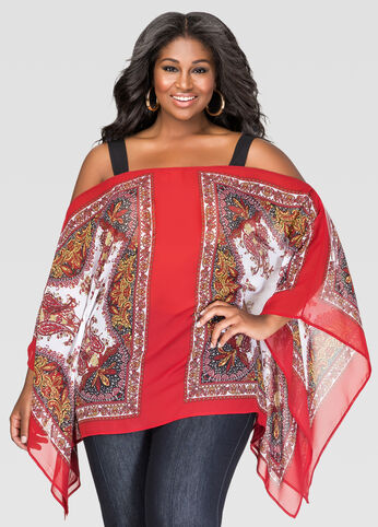 Printed Cold Shoulder Poncho Blouse