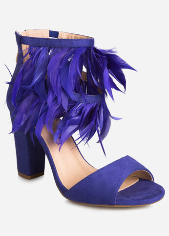 Feather Trim Chunky Sandal - Wide Width